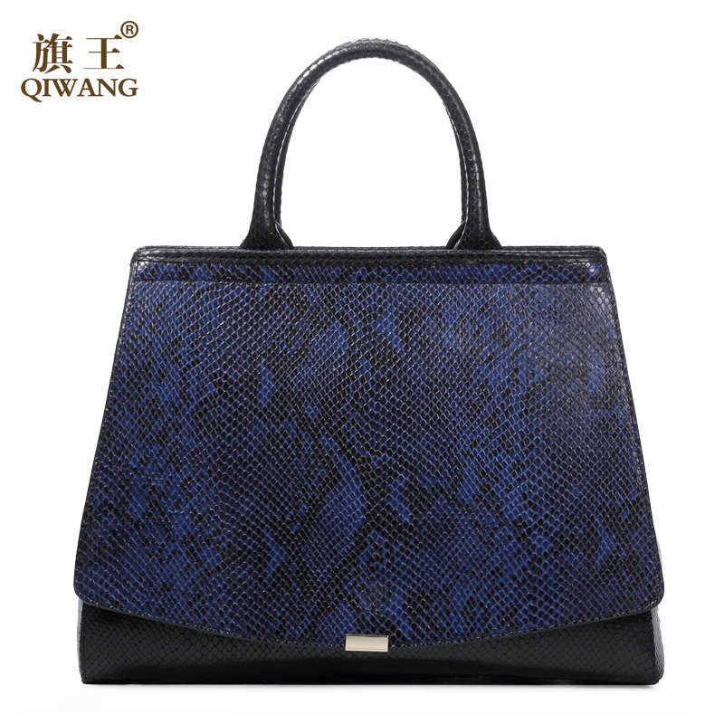 QIWANG Elegant Python Pattern Blue Genuine Leather Hand Bag Large Flap Luxury Fashion Women Handbag Blue Office Lady Daily Purse yuanyu 2018 new hot free shipping python leather handbag leather handbag snake bag in europe and the party hand women bag