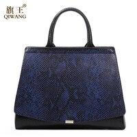 Elegant Python Pattern Blue Hand Bag High Quality Luxury Party Handbag Cross Body Snakeskin Brand Bag