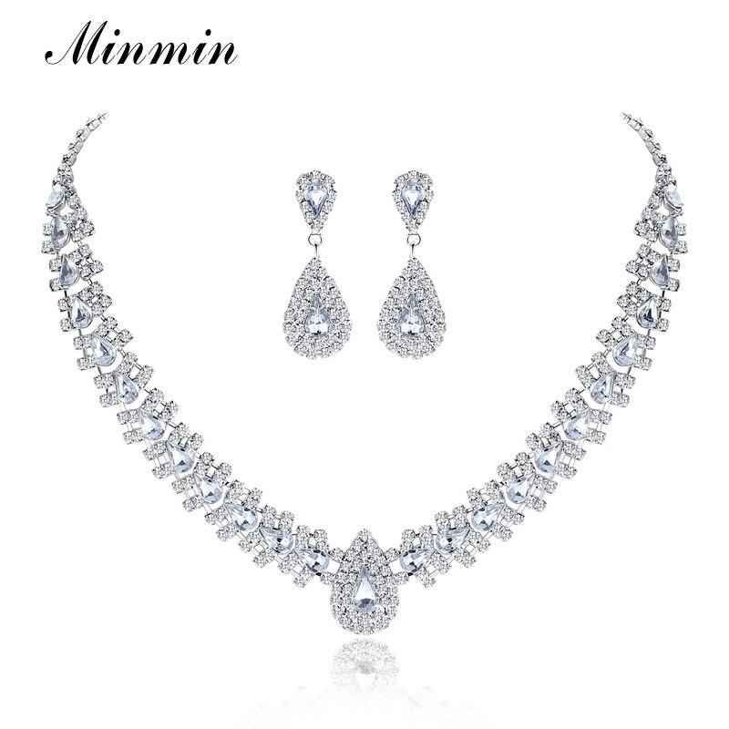 Minmin Luxusní Stříbrná Křišťálová Svatební Sada Sady pro Ženy Slza Drahokamu Náhrdelník Náušnice Sady šperků 2019 MTL001