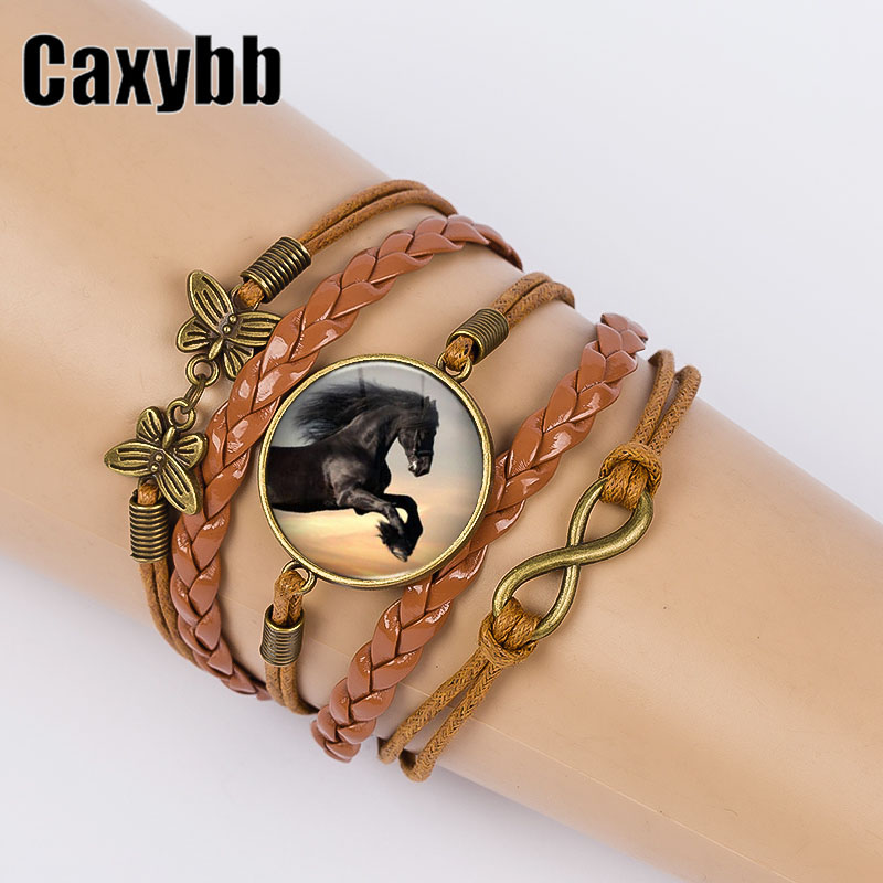 Confident Caxybb Selling Creative Horse Bangles Vintage Glass Cabochon Bracelet Newest Leather Cord Bracelet Holiday Gifts B-l84 For Improving Blood Circulation