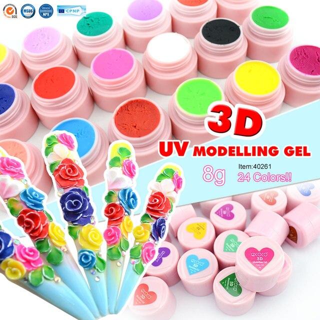 CANNI 3D/4D Modelagem Estereoscópico Fábrica Carve Nail Art Design 8g Pintura de Unhas GDCOCO Embeber off LED UV 3D Escultura Gel Cor