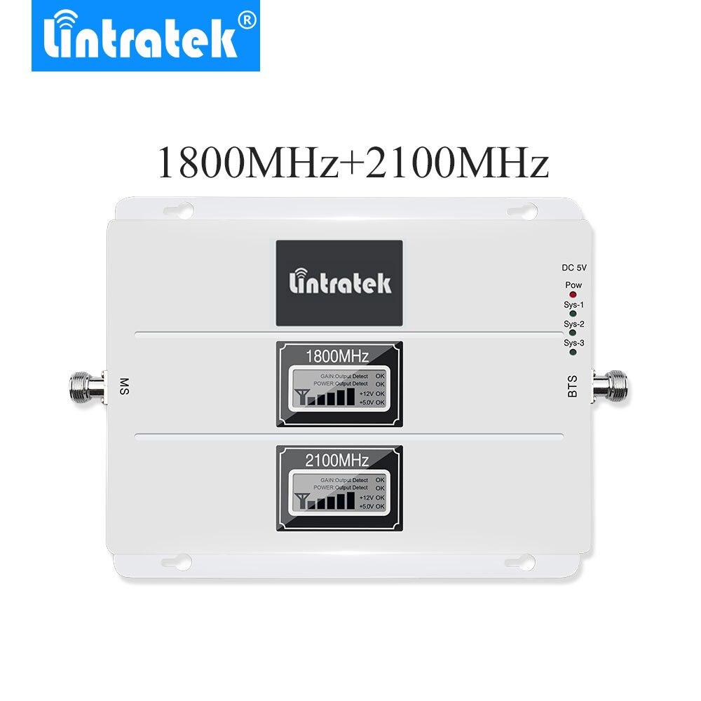 NEUE Lintratek LCD Display Signal Booster GSM 1800 mhz 3g WCDMA 2100 mhz 4g LTE 1800 mhz Zelle telefon Repeater Verstärker mit AGC *