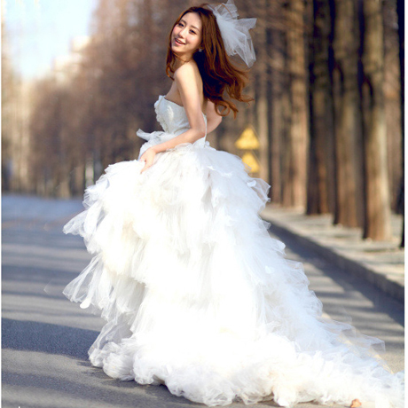 Dress necklines wedding picture more detailed picture for Tulle high low wedding dress