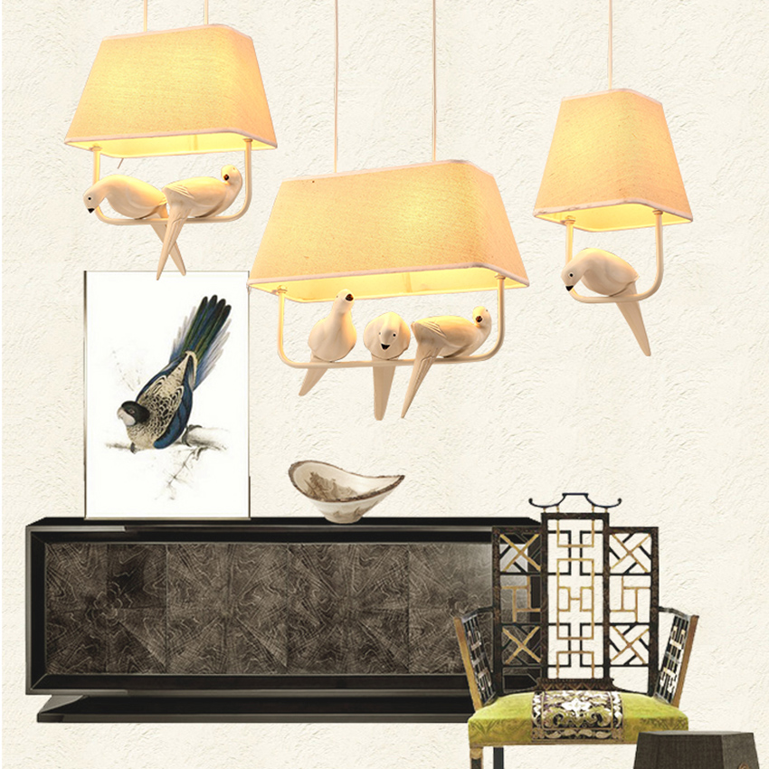 Image 4 - Lovely Individual Birds Pendant Lights Vintage Resin Bird Fabric Lampshade LED Pendant Lamps Kitchen Dining Room Luminaire Avize-in Pendant Lights from Lights & Lighting