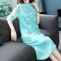 2019 new lace sexy cheongsam long bride trail marry dress chinese evening gown woman wedding qipao modern party dress