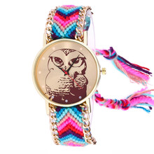 Watch Women Clock Owl Knitted Weaved Rope Band Bracelet Quartz Dial Wrist Watch Hot Selling Charming Cute Bracelet Leisurely M4