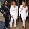 Pantalones de las mujeres Los Trajes de Las Señoras Primavera Auutmn Moda Con Cuello En V Blazers + Pantalones largos Negro Blanco Casual Mujeres Del Color Del Caramelo Trajes Tamaño S-XL