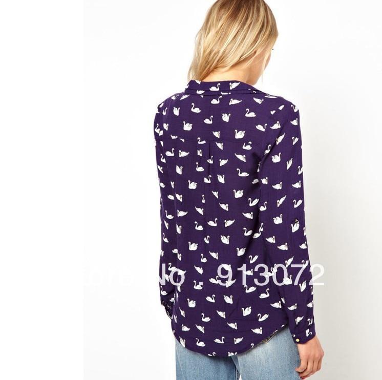 dfa6c7894ff7e8 ST708 New Fashion womens' blue cute swan animal print blouse shirt long  sleeve Turn down collar shirt casual slim tops-in Blouses & Shirts from  Women's ...