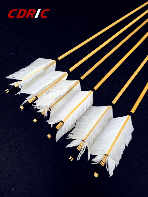 6/12/24PK  high quality wooden arrow white feather real archery hunting recurve bow 1