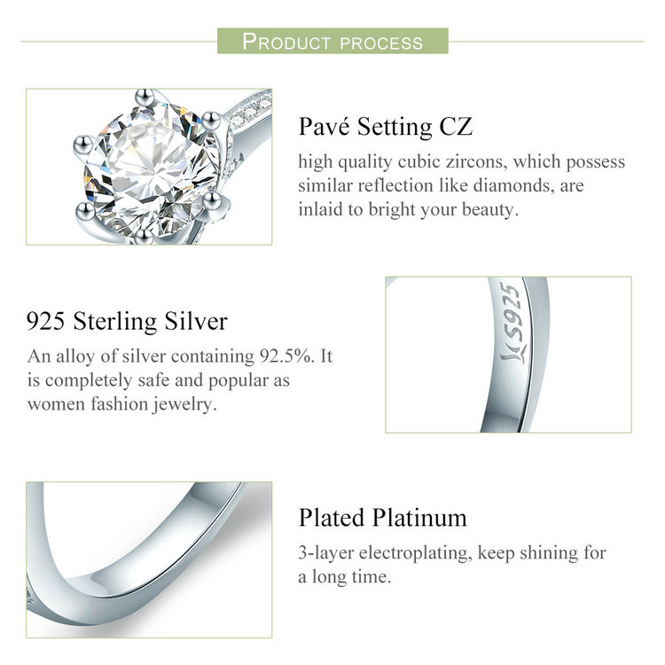 HTB135dSeljTBKNjSZFwq6AG4XXaA BAMOER High Quality 925 Sterling Silver Wedding Ring Princess Square CZ Finger Rings for Women Silver Engagement Jewelry SCR342
