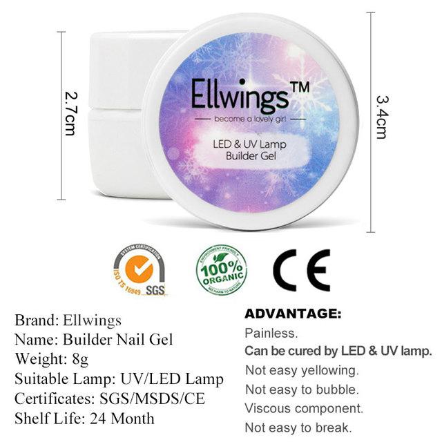 Ellwings Builder Gel for Nail Extensions Finger Extension UV Gel Polish Forms for Nail Extension Nail Art Varnish