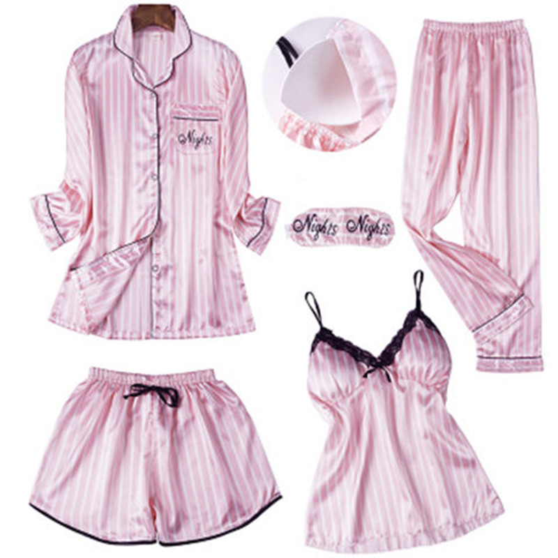 5PCS/  Set   Sexy Embroidery Silk Pyjama Women Robe Lingerie Shorts Blinder   Pajamas     Set   2019 Top Fashion Home Sleepwear Clothes