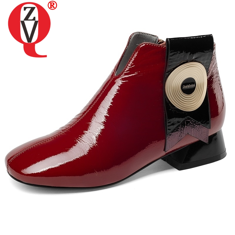 ZVQ shoes women 2018 new fashion low square heel zipper square toe patent leather heel height 3 cm black and red ankle bootsZVQ shoes women 2018 new fashion low square heel zipper square toe patent leather heel height 3 cm black and red ankle boots