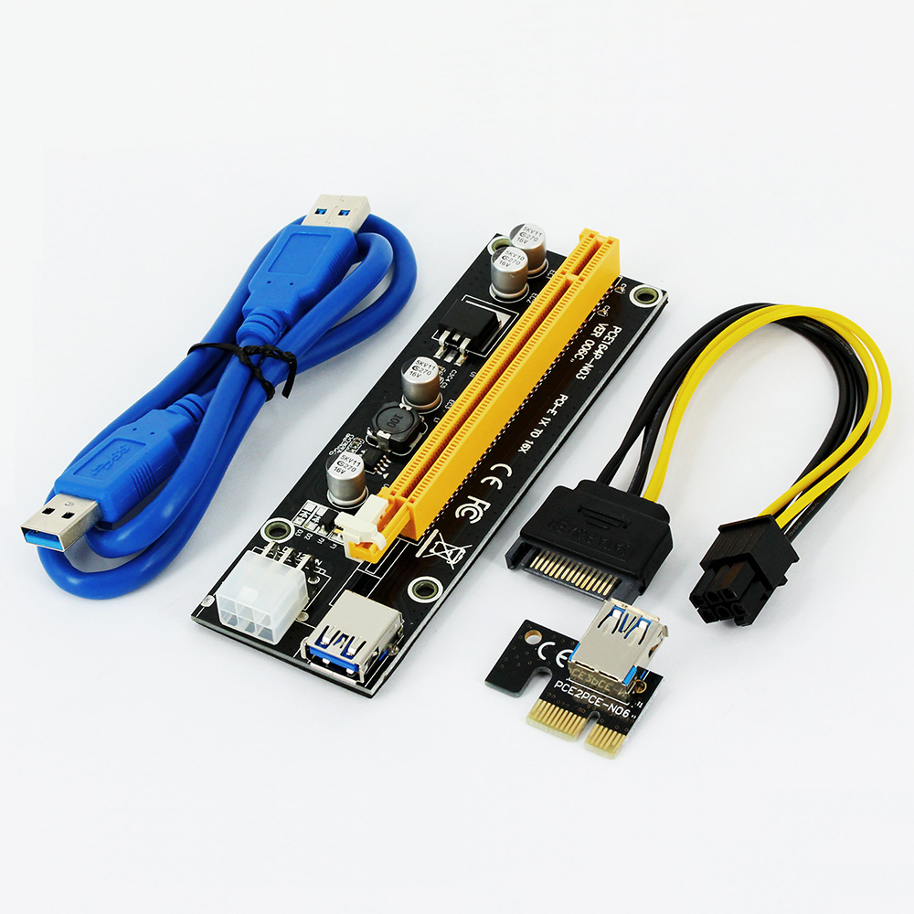 006C PC PCIe PCI-E PCI Express Riser Card 1x to 16x USB 3.0 Data Cable SATA to 6Pin IDE Power Supply for BTC Miner Black Board