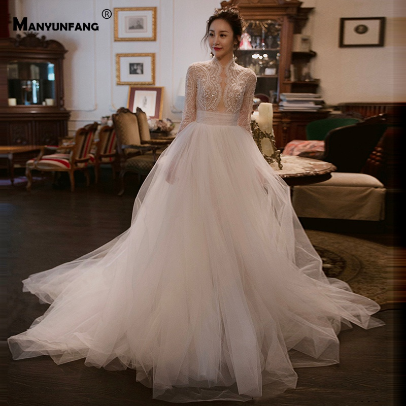 High Neck Vestidos Novia Full Peals Robe De Mariage Sexy Upper Design Wedding Dress Regular Long Sleeve Wedding Dress