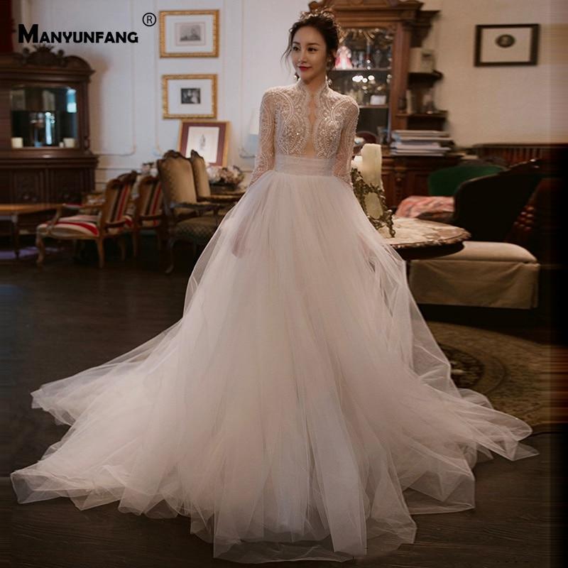 High Neck Vestidos Novia Full Peals Robe De Mariage Sexy Upper Design Wedding Dress Regular Long Sleeve Wedding Dress