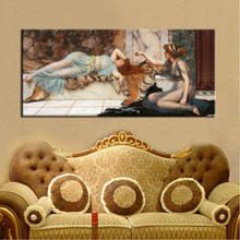 Posters and Prints Wall Art Canvas Painting Mischief and Repose by John William Waterhouse Wall Pictures for Living Room Decor(China)