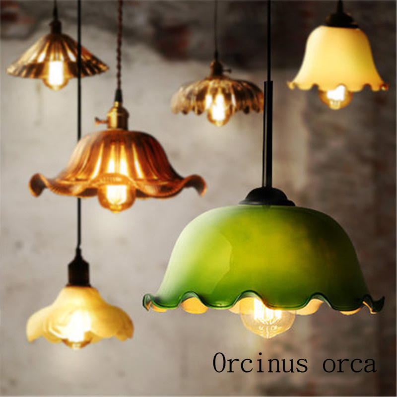 Chinese style retro single head chandelier dining table restaurant originality personalized glass color antique bar lightingChinese style retro single head chandelier dining table restaurant originality personalized glass color antique bar lighting