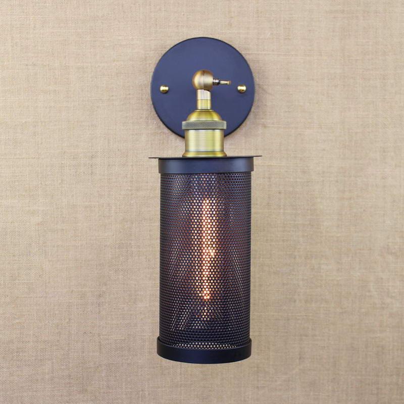 Фото Retro black vintage metal wall lamp led e27 lights for workroom Bedroom bar Vanity Lights porch light art deco stair night light