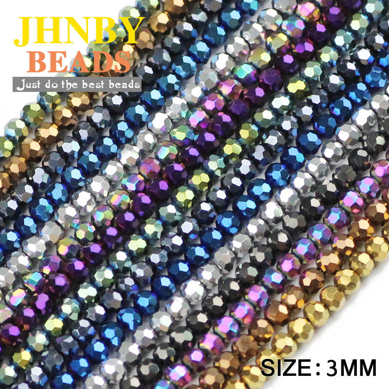 JHNBY Football Faceted shape Austrian crystal 200pcs 3mm plated color Round Loose beads Jewelry bracelet accessories making DIY