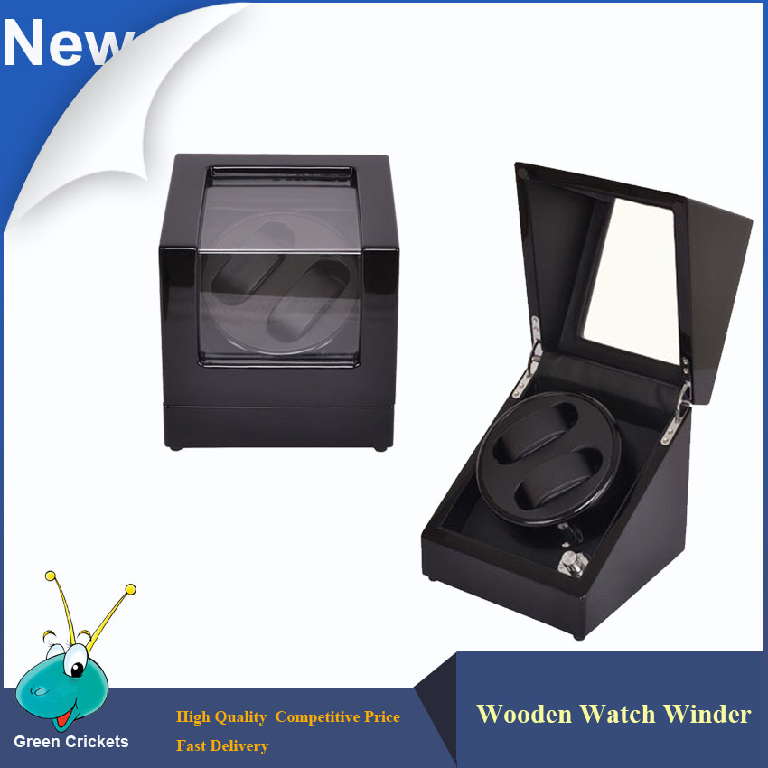 Orginal Black Highlight Wooden Watch Winder,5 Modes rotation Quite Motor Automatic Watch Winders 2016 latest luxury 5 modes german motor watch winder yellow spray paint wooden white pu leater inside automatic watch winder