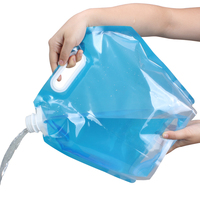 2 Pack 10L Folding Drinking Water Container Storage Bag Pouch For Camping Hiking Picnic BBQ Blue