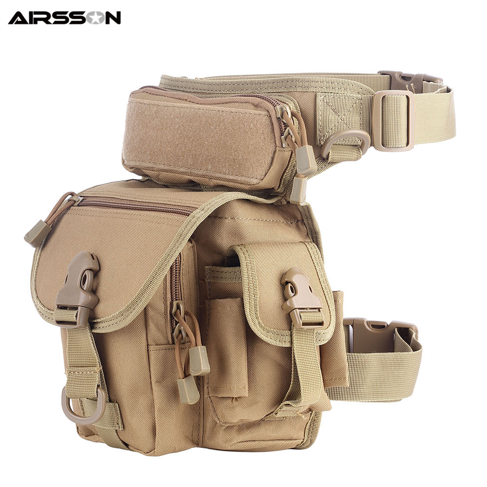 Nylon Tactical Thigh Leg Bag With Water Bottle Pouch Waist Pack Outdoor Military Hunting Camping Climbing Bags