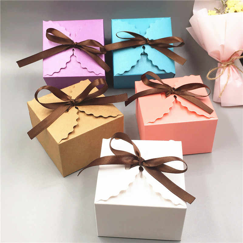 Pink/Purple/Blue Cardboard Packing Box DIY Creative  Anniversary Dessert Gifts Boxes Cases With Coffee Ribbon