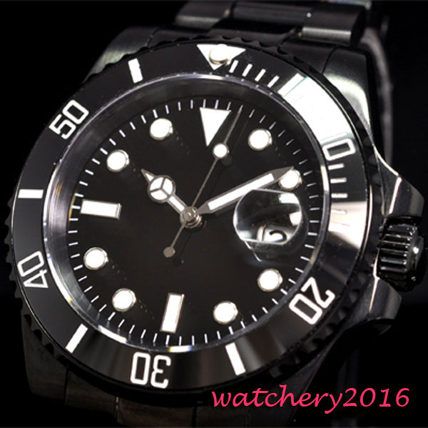 40mm parnis Black dial PVD Coated Luminous Marks 2017 top brand luxury automatic mechanical Mens Sapphire glass Mens Watch40mm parnis Black dial PVD Coated Luminous Marks 2017 top brand luxury automatic mechanical Mens Sapphire glass Mens Watch