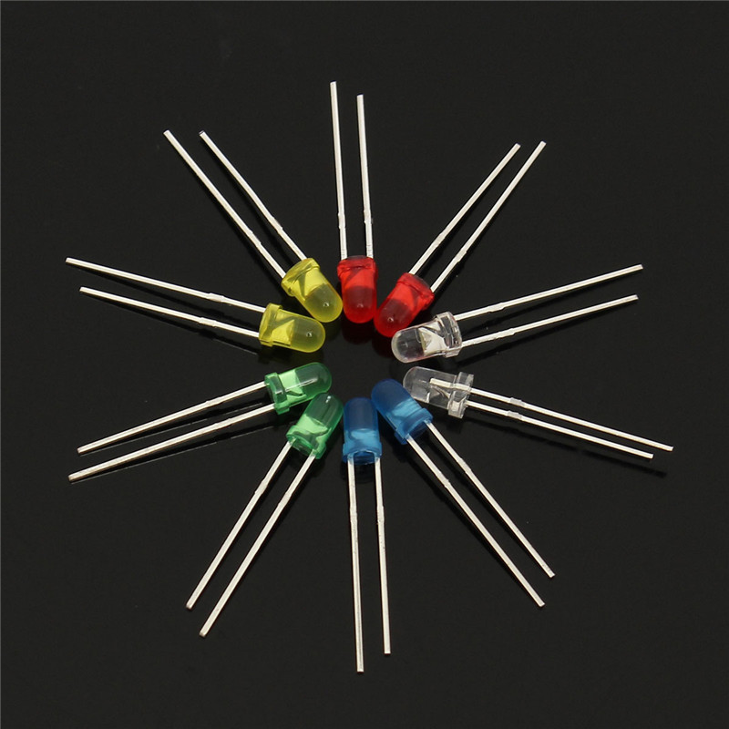200Pcs 3MM LED Light Assorted Kit Red Green Blue Yellow White DIY LEDs Set