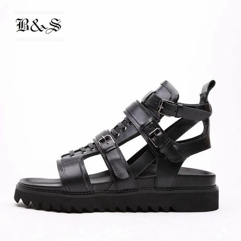 Black&Street 2018 Men genuine Leather Thick Sole Rome Gladiator Cross Buckle straps Summer Sandals
