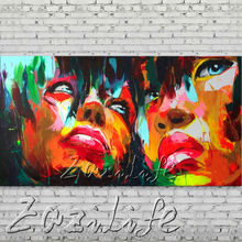 knife portrait Face Oil painting Character figure canva Hand painted Francoise Nielly  Art picture  room83