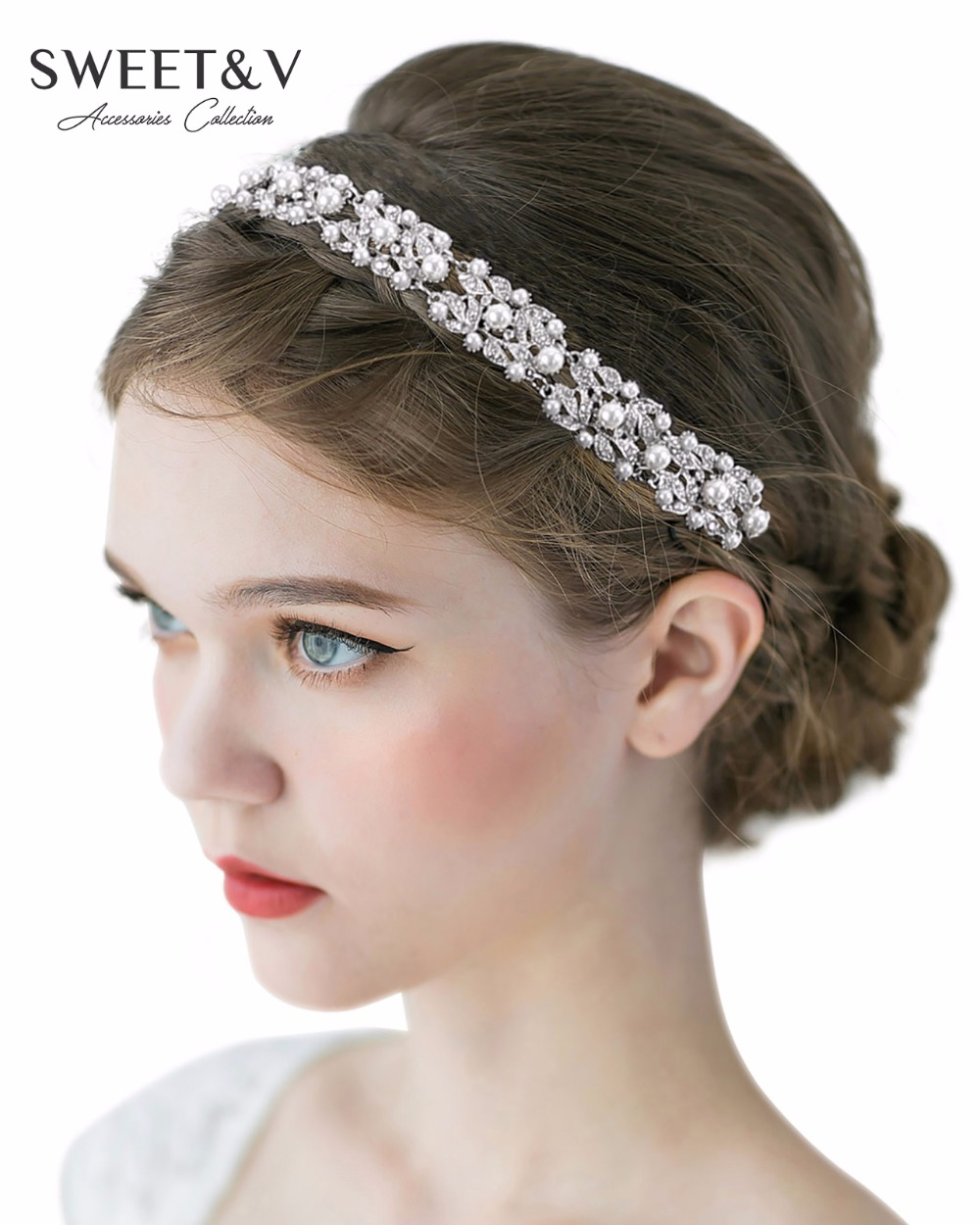 Wedding Hairstyle With Headband: Stunning Silver Rhinestone Headband Tiara Pearl Wedding