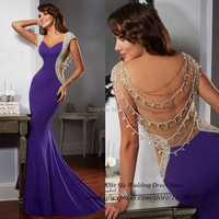 Robe de Soiree 2015 Noble Purple Black White Pearls Crystals Mermaid Evening Gowns Long Elegant Prom Dresses Sexy Couture
