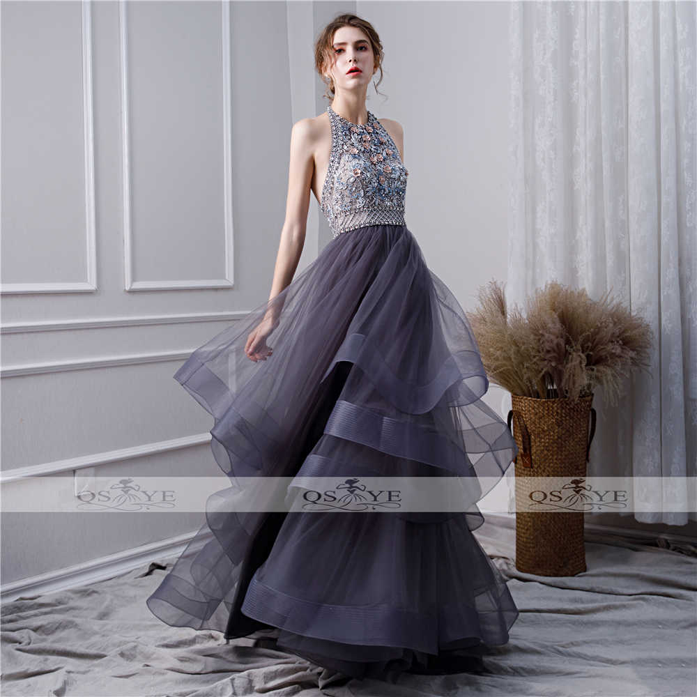 28e46013a9d4 ... QSYYE 2019 New Gray Long Prom Dresses Robe de Soiree Halter Oneck  Beading Flowers Tulle Sexy ...