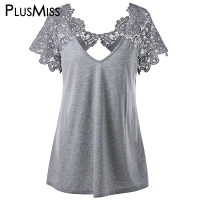 GIYI Plus Size 5xl 4xl Summer 2017 Vintage Cutwork Lace Trim Top Women Short Sleeve Sexy
