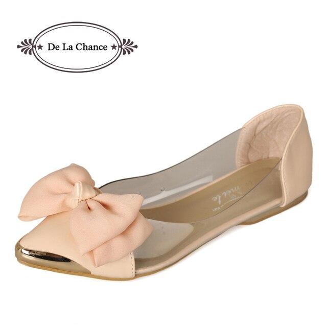 Women Flats Shoes Brand Ballet Flats Womens Pointed Toe Flats For Women Big Bow Tie Basic Girls Transparent Flats Size 33-40