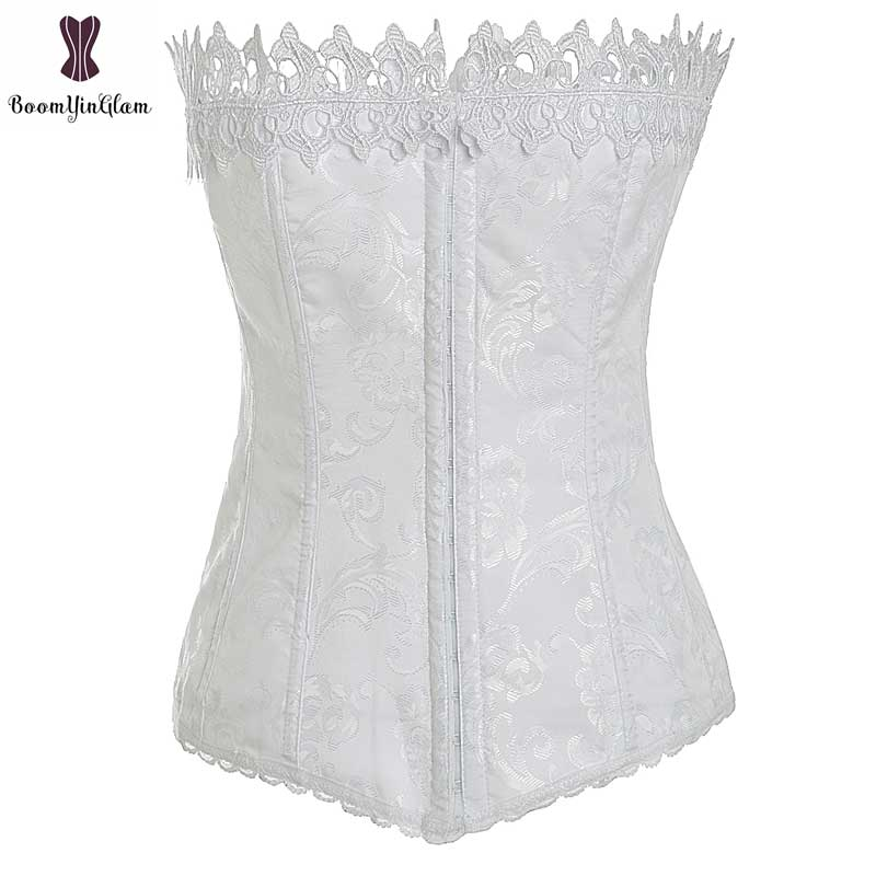 wholesale price waist trainer body shaper costume front 3 hooks   Bustier   bridal   corset   for wedding Emboidery Lace Jacquard Floral