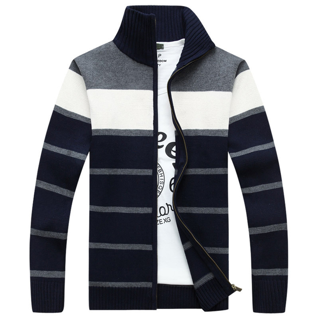 2016 Striped Cardigan Men's Sweaters Warm Winter Sweater Men Turtleneck Causal Cardigan Male Sweater Brand Clothing SEA208