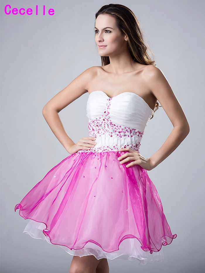 c73f1c36f50 ... Girls 2019 Short White Homecoming Prom Dresses Sweetheart Two Tones  Beaded Juniors Teens Semi Formal Homecoming ...