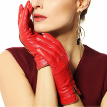 WARMEN brand winter leather gloves women sheepskin fashion wrist lady Genuine driving