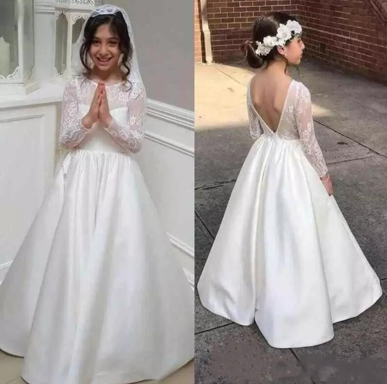 New A Line White Ivory Flower Girls Dresses for Wedding Long Sleeves Lace Satin Girls Pageant Party Gown Custom Made pageant dress long sleeves and appliques satin white ivory flower girl dresses for wedding custom made new arrival hot