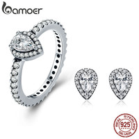 BAMOER Authentic 100 925 Sterling Silver Radiant Teardrop Earrings Ring Clear CZ Jewelry Set Wedding Engagement