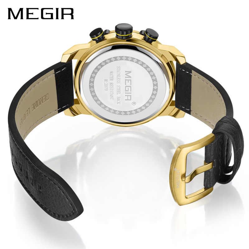 ساعة رياضية رجالية من MEGIR كرونوغراف إبداعية ساعات كوارتز فاخرة للرجال ساعة يد عسكرية للجيش ساعة رجالية