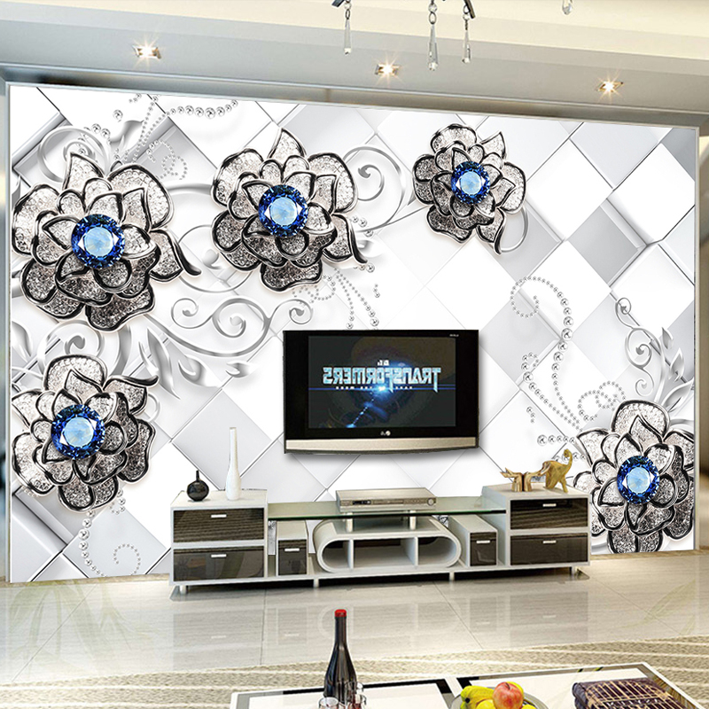 Custom 3D Mural Wallpaper European Style Diamonds Pattern Flowers Backdrop Decor Mural Modern Art Wall Painting Living Room book knowledge power channel creative 3d large mural wallpaper 3d bedroom living room tv backdrop painting wallpaper
