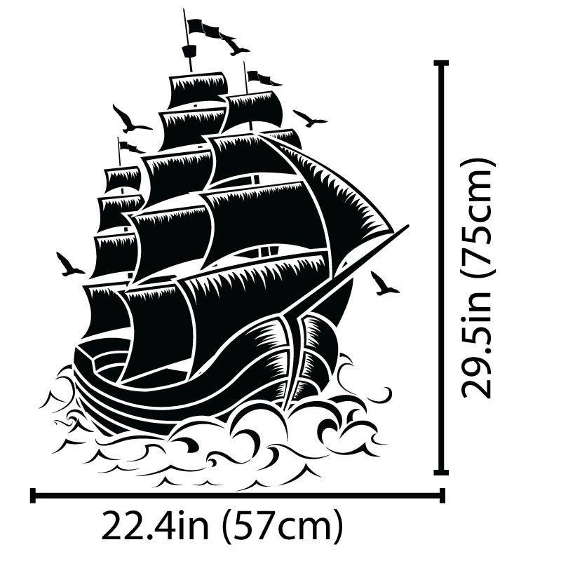 Removable Fashion Home Decor Decal Nautical Sail Boat Pirate Ship ...