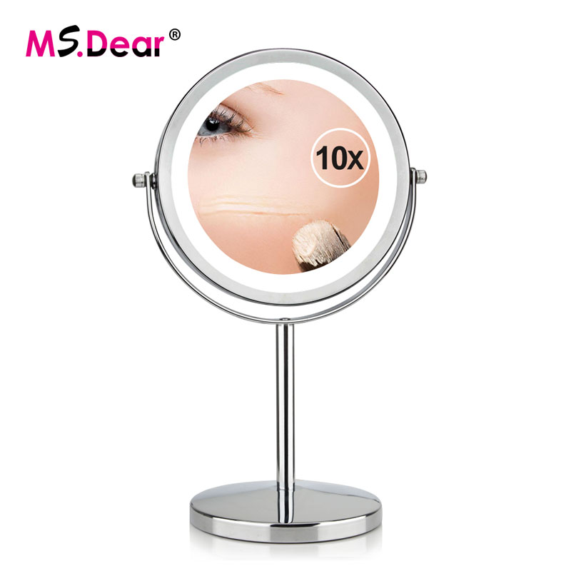 7 Inch Makeup Mirror Double Sided 10X Magnifying Metal Compact 360 Degree Rotation Desktop Stand 17 LEDs Cosmetic Mirror Tools