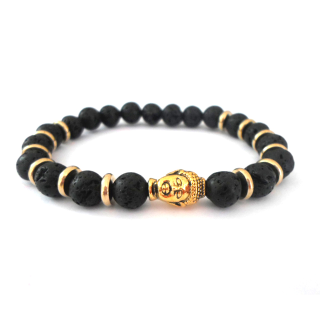 Whole 2017 Fashion Jewelry Men And Women Smile Gold Buddha Bracelet Black Lava Energy Stone Beads