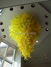 Inspired Large Glass Chandelier Lighting High Ceiling LED Light in lemon Yellow for Hotel