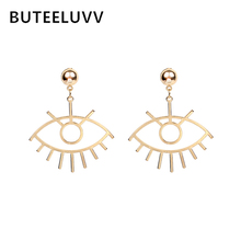 BUTEELUVV Simple Eyes Dangle Earrings Fashion Jewelry Elegant Gold Silver Color Hollow Carved Big Eyes Drop Earrings for Women big eyes
